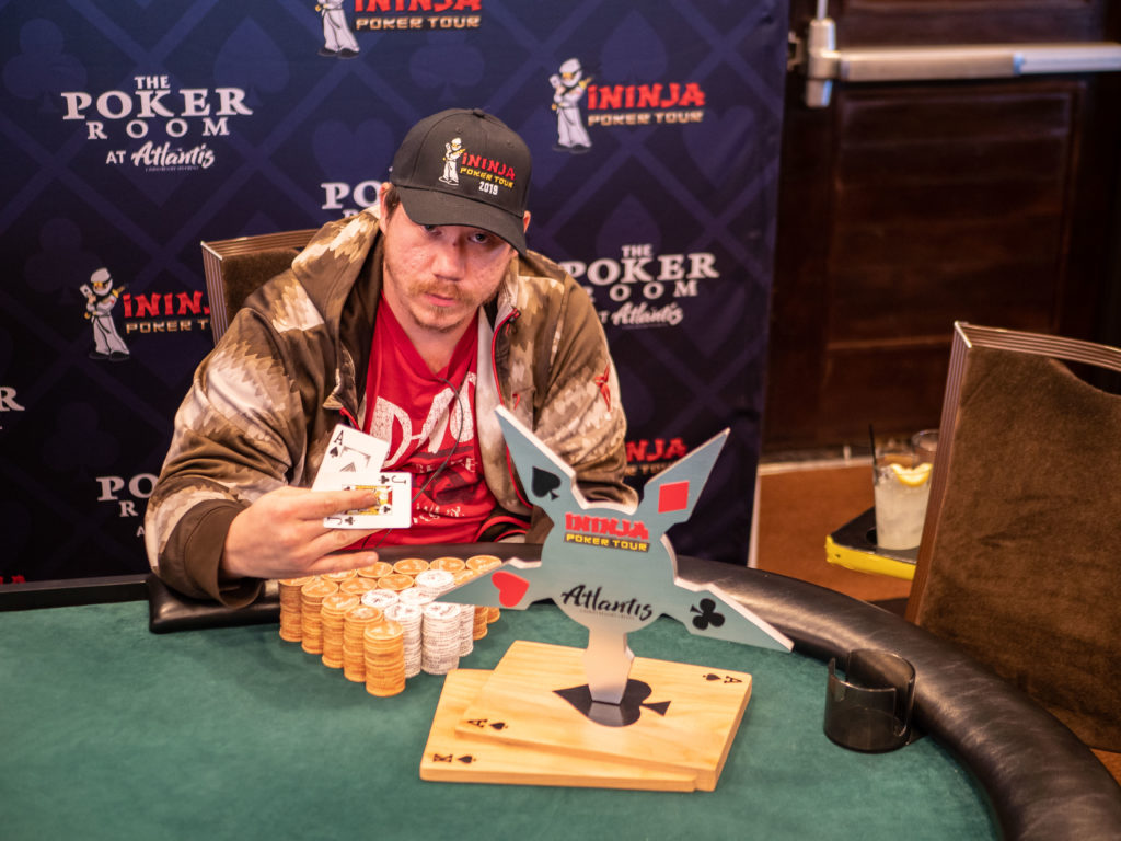 Kyle Wright poses with the trophy at the iNinja poker tour event at Atlantis casino